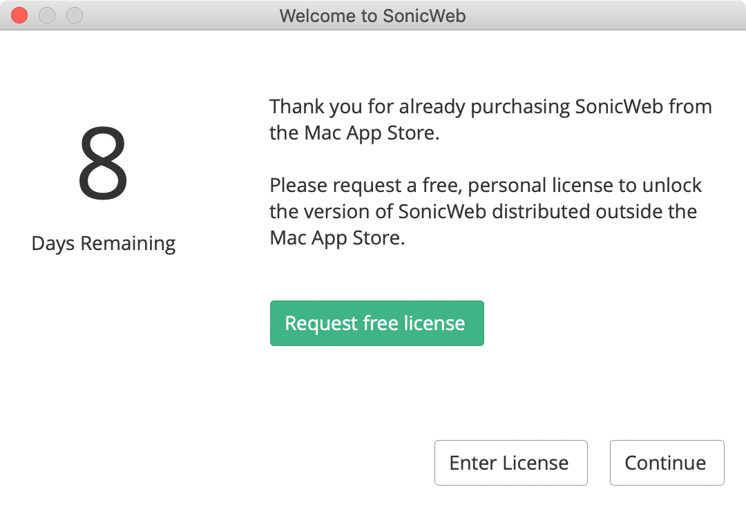Request a personal license on the welcome screen
